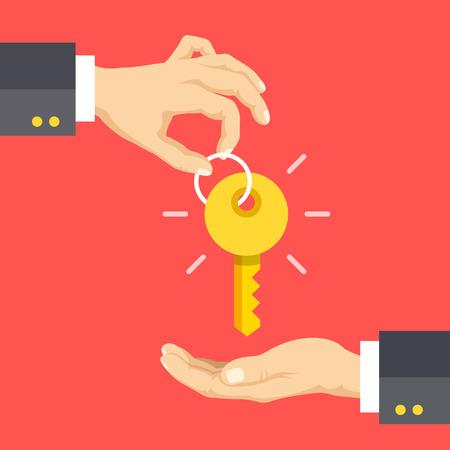 Ręka dając klucz, ręcznie podejmowaniu kluczowych płaskie koncepcji projektowych. Agencja nieruchomości, sprzedaż samochodów, wynajem mieszkania lub domu koncepcji. ilustracji wektorowych Ilustracje wektorowe