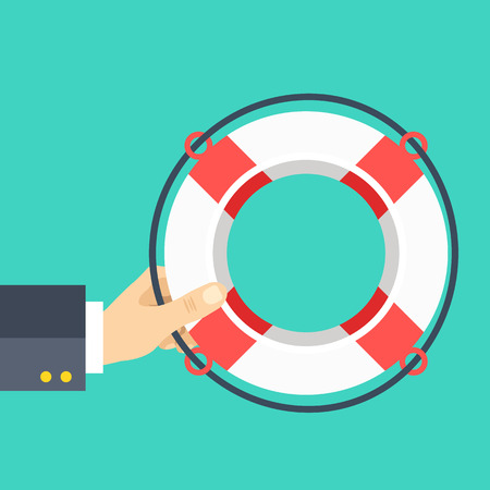 Hand holding lifebuoy. Help, support concepts. Flat design vector illustration  イラスト・ベクター素材