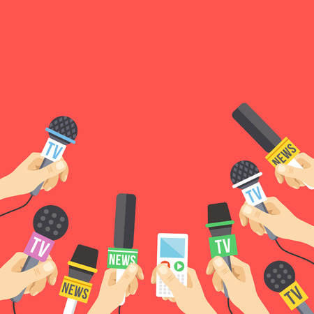 live: Hands with microphones. Journalism, live report, hot news concept. A lot of hands holding microphones and audio recorders. Modern flat design vector illustration