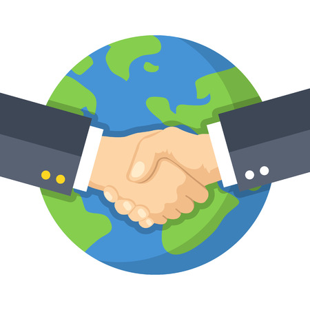 world peace: Handshake and planet Earth. World peace, global agreement, international partnership, worldwide business concepts. Flat design vector illustration