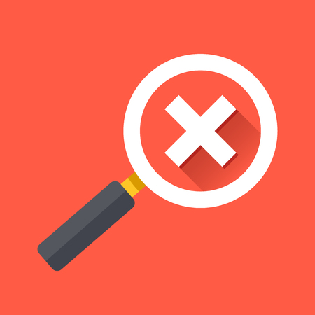 check mark icon: Magnifying glass with cross check mark icon. Flat design vector illustration