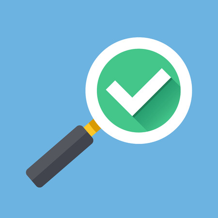 Magnifying glass with tick check mark icon. Flat design vector illustration