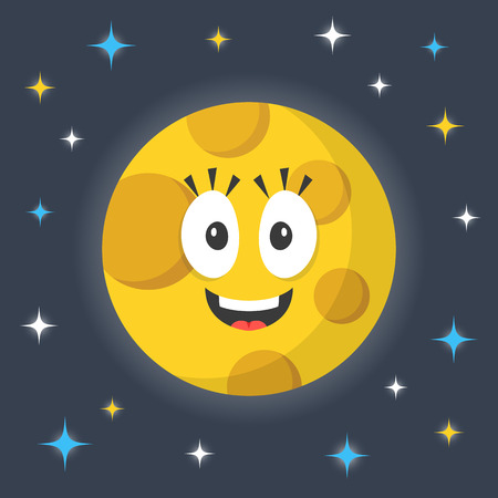 funny face: Vector moon. Cute funny smiling cartoon moon character and night sky with stars. Creative vector illustration