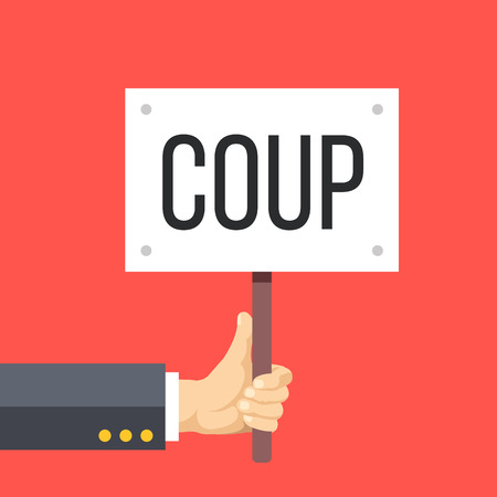 riot: Hand holding wooden sign with coup title. Riot, protest, revolution, coup concept. Flat design vector illustration Illustration