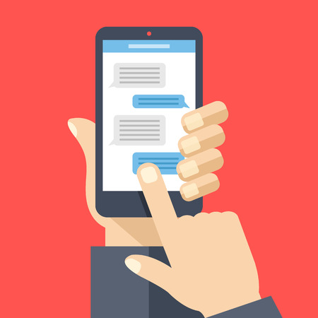 instant messaging: Chat on smartphone screen. Hand holds smartphone, finger touches screen. Instant messaging, texting concepts. Modern elements. Flat design vector illustration Illustration