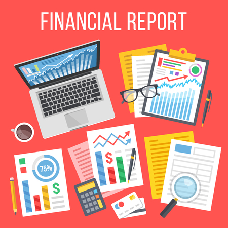 financial figures: Financial report flat concept. Business icons, elements set. Top view. Modern flat design concepts. Creative vector illustration