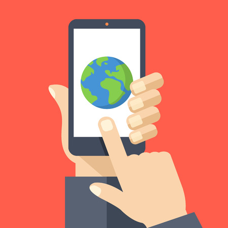 phone isolated: Earth icon on smartphone screen. Hand holding smartphone, finger touching screen. GPS navigation, traveling. Modern flat design vector illustration
