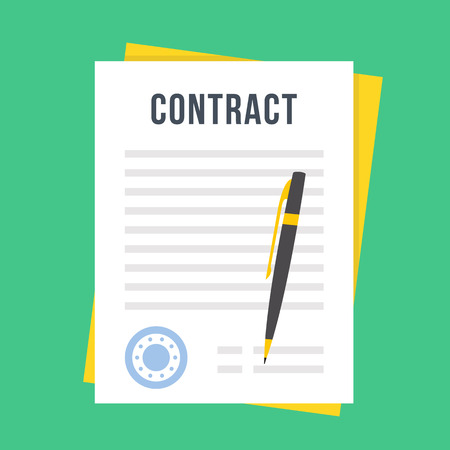 Contract document met rubber stempel en pen. Ondertekenen contract concept. Vlakke stijl ontwerp vector illustratie Stock Illustratie