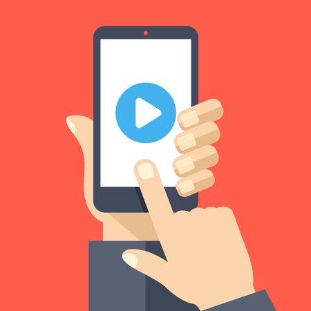 watch video: Play button on smartphone screen. Hand hold smartphone, finger touch screen. Watch video on mobile phone. Modern flat design vector illustration