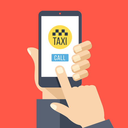 get in touch: Taxi app on smartphone screen. Hand holds smartphone, finger touches screen. Get taxi with mobile phone. Modern flat design vector illustration Illustration