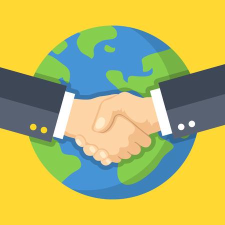 Business stretta di mano e la Terra. Global business, collaborazione. Due mani tremanti l'un l'altro. Design piatto illustrazione vettoriale