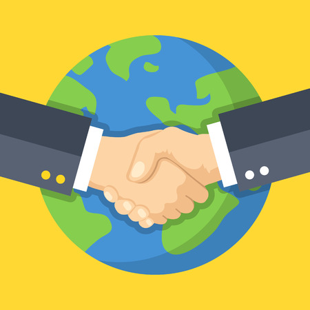 Poignée de main d'affaires et de la Terre. Entreprise mondiale, partenariat. Deux mains se serrant les unes les autres. Illustration vectorielle design plat