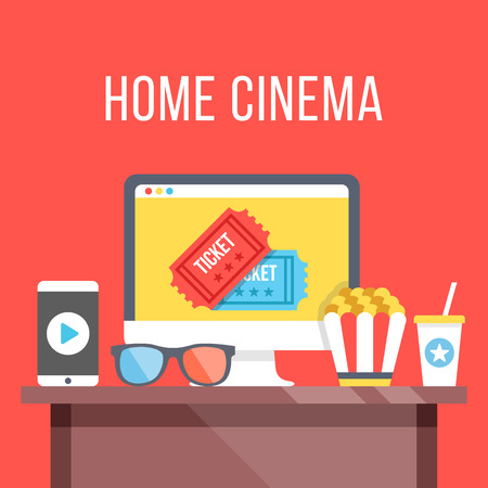 computer button: Home cinema. Table with desktop computer, cinema tickets on screen, 3D glasses, smartphone with play button, popcorn and soda. Watch movies online concept. Modern flat design vector illustration