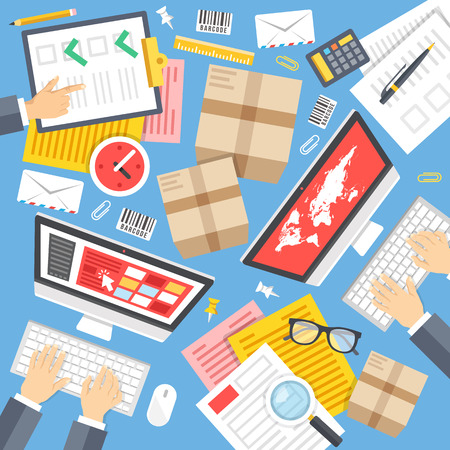invoices: Post office clerks at work. Top view. Delivery service workspace concept. Flat design graphic elements set. Vector illustration