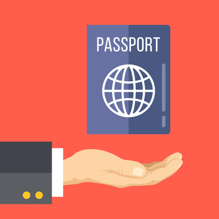 Hand and passport. Getting or renewing a passport concept. Flat vector illustration