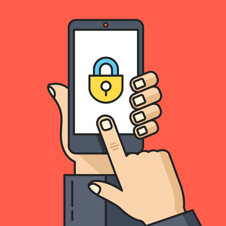 password protection: Hand holding smartphone with lock icon. Unlock screen, privacy, phone protection, password concepts. Thin line flat design. Vector illustration