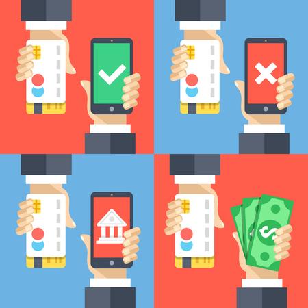 cash back: Hands holding credit cards, smartphones and money. Mobile payment, mobile banking, cashback concepts. Modern flat design vector illustrations set Illustration