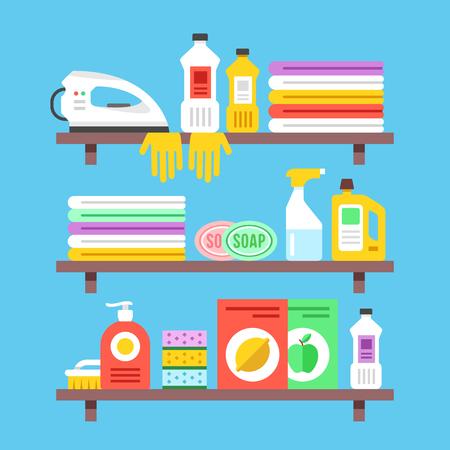 detersivi: prodotti per la pulizia domestica, prodotti chimici, materiali di consumo e gli oggetti sugli scaffali. Design piatto illustrazione vettoriale Vettoriali