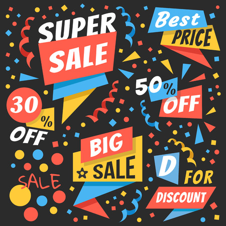 thirty percent off: Creative colorful vector badges and sale labels set