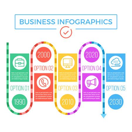 infografía de negocio de línea de tiempo Ilustración de vector