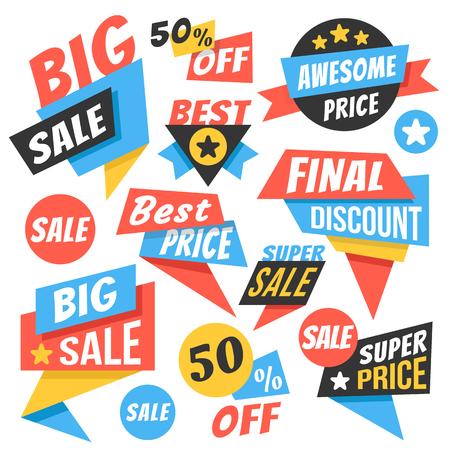 Modern sale badges, web banners set.