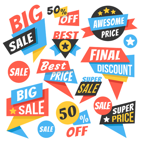Modern sale badges, web banners set. 版權商用圖片 - 61640680