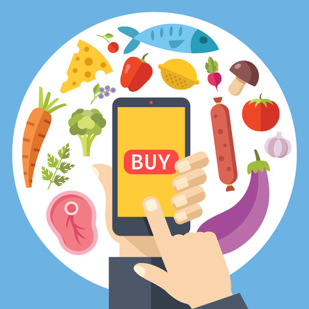 buy button: Hand holding smartphone with buy button and food around. Order food online concept. Flat graphic design elements set. Illustration