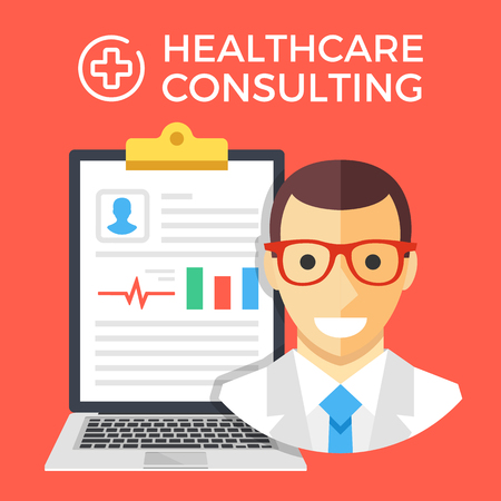 medical report: Healthcare consulting concept. Doctor and laptop with medical report clipboard. Flat graphic design elements set.