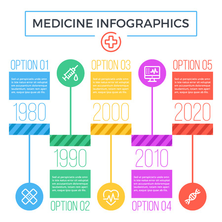 Timeline medicine infographics. Flat graphic design elements and icons set.