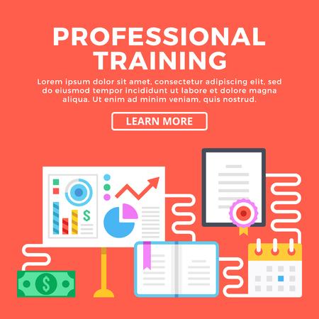 enhancement: Professional training, career enhancement. Modern concepts, graphic elements and flat icons set. Flat design vector illustration