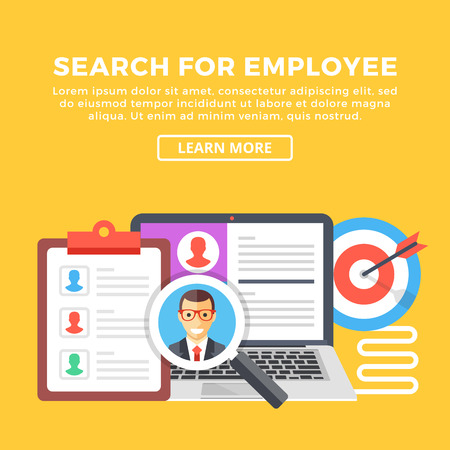 online form: Search for employee, human resources, team management concepts. Modern graphic elements set for web banners, web design, infographics. Creative flat design vector illustration