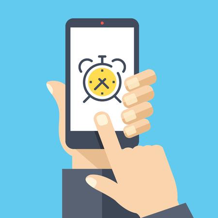 phone hand: Alarm clock on smartphone screen. Wake up app. Hand holding smartphone, finger touching screen. Modern flat design vector illustration