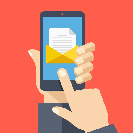 get in touch: Smartphone with document and envelope on screen. Hand holds smartphone, finger touches screen. Email concept. Modern graphic flat design vector illustration Illustration