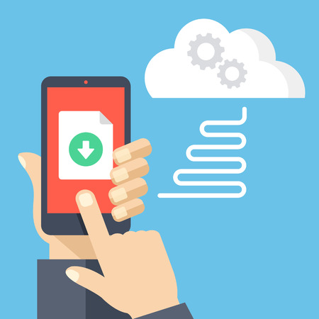 phone button: Downloading file from online cloud storage to mobile phone. Hand holding smartphone, finger touching screen with document and download button. Modern flat design vector illustration Illustration