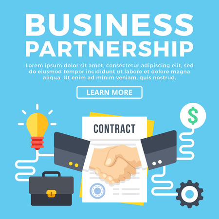 business contract: Business partnership, contract conclusion. Modern concepts, flat icons set and graphic elements. Flat design vector illustration