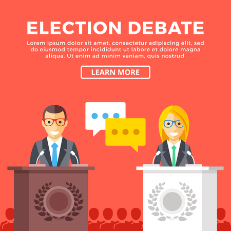 supporters: Election debate. Presidential candidates at rostrum, supporters behind. Modern concepts, creative graphic elements. Flat design vector illustration Illustration