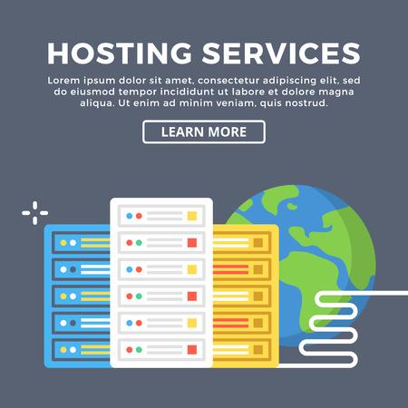 Hosting services, web server, internet provider, data center concepts. Modern graphic design elements. Flat design vector illustration