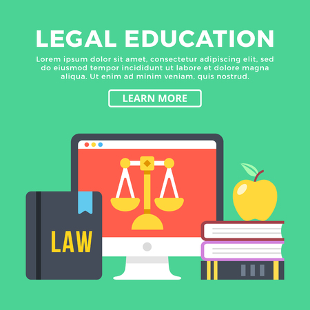 pied: Legal education concept. Modern flat icons and graphic elements. Flat design vector illustration