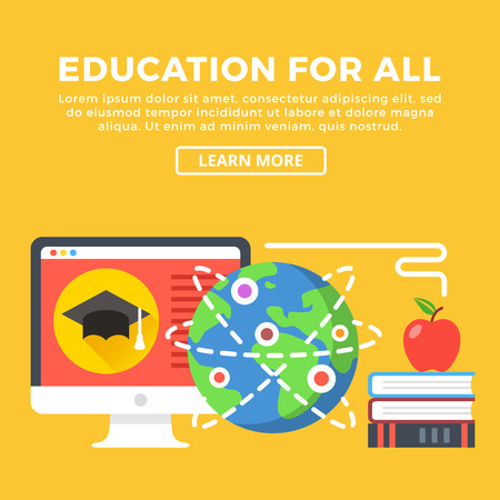 all caps: Education for all concept. Modern graphic elements for web banners, infographics, web design, printed materials. Flat design vector illustration Illustration