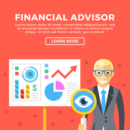 presentation board: Financial advisor concept. Business character and presentation board. Modern graphic elements set for web banners, web design, etc. Creative flat design vector illustration