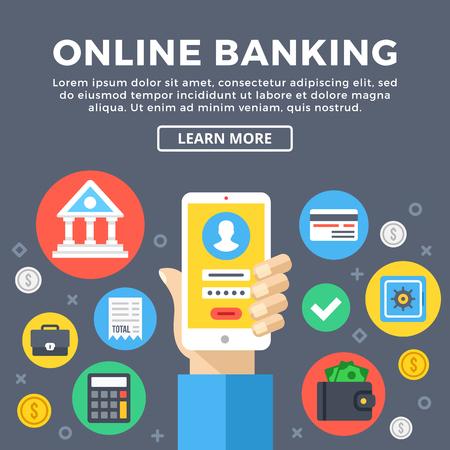 cuenta bancaria: La banca en línea, el concepto de banca electrónica. Administrar la cuenta bancaria a través del teléfono móvil. objetos gráficos modernos, conjunto de iconos planos. Diseño plano ilustración vectorial Vectores