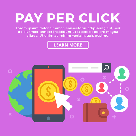 referrals: Pay per click concept. Mobile phone, gold coins, cursor icon, wallet, Earth, etc. Modern graphic elements for web banners, infographics, web design, printed materials. Flat design vector illustration
