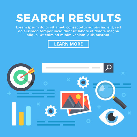 internet search: Search results, internet search engine and web pages content concepts. Modern graphic objects and icons for web banners, infographics, web design, printed materials. Flat design vector illustration Illustration