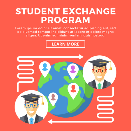 abroad: Student exchange program, education abroad concepts. Happy students, arrows around Earth. Creative graphic objects for web banners, web design, printed materials, etc. Flat design vector illustration