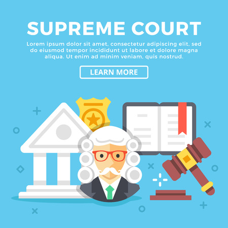 supreme: Supreme court concept. Modern icons and colorful graphic objects for web banners, websites, printed materials. Flat design vector illustration