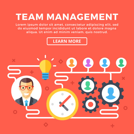 ceo: Team management concept. Boss or CEO, employees, time, mechanism, etc. Modern graphic objects, flat icons for web banners, web design, infographics, printed materials. Flat design vector illustration