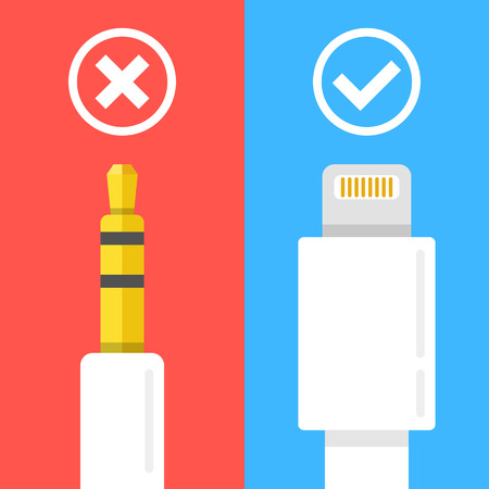 35 mm: 3.5 mm headphone jack, lightning connector cables and check marks. Cross and tick icons. Flat design vector illustration