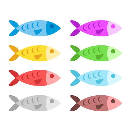 colorful fish: Colorful fish set. Flat design. Vector illustration