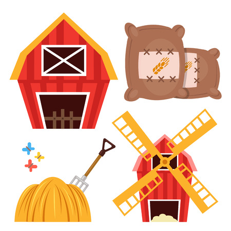 barns: Farm set. Barn, brown wheat bags, haystack and forks, windmill isolated on white background. Flat design cartoon vector illustration Illustration