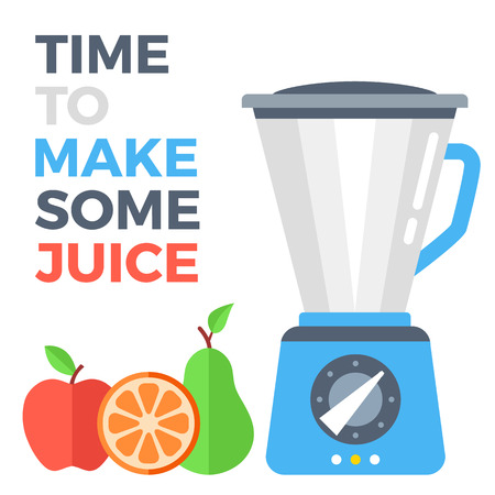Time to make some juice concept. Food processor and fruits. Apple, orange and pear. Flat design vector illustration